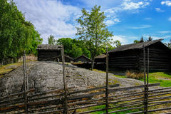 Stockholm, Sweden, Skansen. Village ay sunny day Royalty Free Stock Images