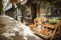 Stockholm, Sweden. Store street, a shop with products, fall, warm sunshine Royalty Free Stock Images