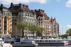 Stockholm, Sweden - Strandvägen - the famous Address. STOCKHOLM, SWEDEN - MAY 15: Stockholm City - Strandvagen - the famous address with promenade, Hotels and Royalty Free Stock Photo