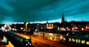 Stockholm, Sweden. Subway Train in Motion During Night Time. City Skyline. 4K stock video