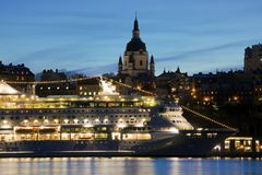 Stockholm Sweden sunset. And a cruise ship Stock Photos