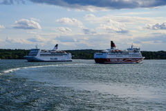 Stockholm,Sweden Two ferry boats Stock Image