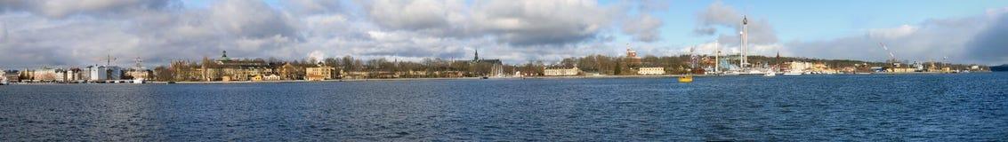 Stockholm, Sweden. Wide panorama of shoreline of Stockholm, Sweden stock images