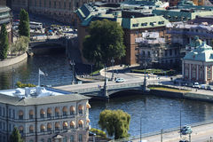 Aerial panorama of Stockholm, Sweden. Urban aerial view on Stockholm city Royalty Free Stock Images
