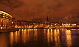 Stockholm vid natt Royaltyfria Bilder