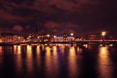 Stockholm vid natt Arkivbild