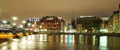 Stockholm vid natt Royaltyfria Foton