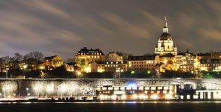 Stockholm vid natt Royaltyfri Bild