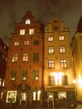 Stockholm 2 vieilles maisons à la vieille place Photos stock