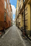 Stockholm.View of narrow streets with bicycles in Gamla Stan.Swe Stock Image