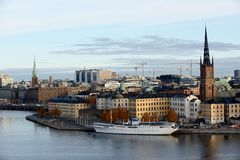 Stockholm view with The Riddarholm Church, Sweden Royalty Free Stock Photos