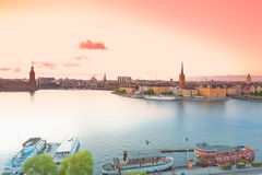 Stockholm, view from Soedermalm on the old town of Stock Stock Photos