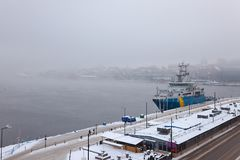 Stockholm vintermorgon Arkivfoto