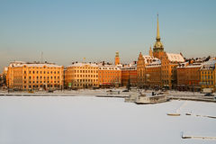 Stockholm waterfront, winter image. Royalty Free Stock Images