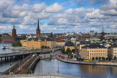 STOCKHOLM, ZWEDEN - AUGUSTUS 20, 2016: Luchtmening van Stockholm Fr Stock Foto