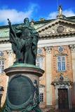 STOCKHOLM, ZWEDEN - AUGUSTUS 19, 2016: Mening over Standbeeld van Gustavo E Stock Fotografie