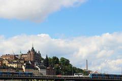 STOCKHOLM, ZWEDEN - CIRCA 2016: Een landschapsbeeld van de Skandinavische stad van Stockholm, Zweden stock foto's