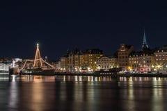 Stockholm, Zweden - December, 2014 Nachtfoto van de stad van Stockholm Stock Foto