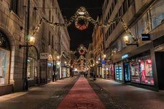 Stockholm, Zweden - December, 2014 Nachtfoto van de stad van Stockholm Stock Fotografie