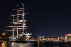 Stockholm, Zweden - December, 2014 Nachtfoto van de stad van Stockholm Royalty-vrije Stock Foto