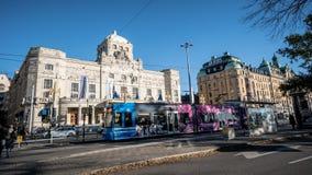 Stockholm, Zweden - Oktober 28, 2016: Cityscape van Stockholm met kabelwagens stock foto