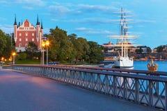 Stockhom,瑞典夜间风景  免版税库存照片