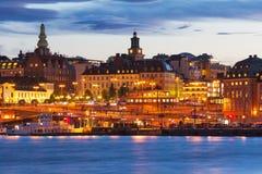 Stockhom,瑞典夜间风景  库存图片