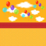 Stocking children's postcards. The blank cards child in yellow with balloons and clouds Royalty Free Stock Photos
