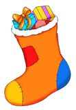 A stocking with gifts Royalty Free Stock Photos
