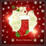Stocking with gifts for the New Year. Royalty Free Stock Photo
