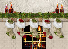 Stocking Hanging by Fireplace Royalty Free Stock Photos