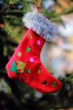 Stockingis рождества сделанные с их собственными руками стоковое изображение