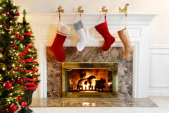 Stockings by the fire stock image