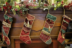 Stockings on a mantle. Xmas Stockings on a mantle Stock Photography