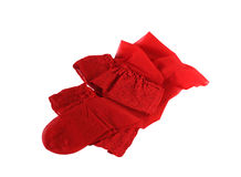 Stockings red. Red stockings lie on a white background. One couple. Are put carelessly Royalty Free Stock Image