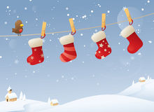 Stockings in the Snow Royalty Free Stock Photos