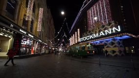Stockmann store at night stock footage