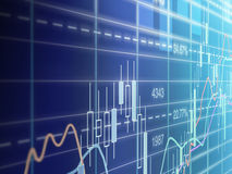 At the stockmarket. Detailed view of a business chart Royalty Free Stock Photo