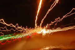 Stockphoto of haywire light trails. Light trails taken from inside of a car stock photos