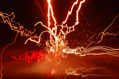 Stockphoto of haywire light trails. Light trails taken from inside of a car royalty free stock image