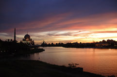 Stockphoto of a mosque at sunset. Putrajaya Mosque at sunset stock photo