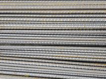Stockpile of steel bars in construction site to execute reinforced concrete.  royalty free stock images