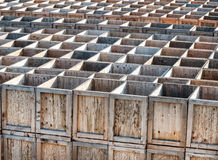 Stockpile of winery crates. Wooden boxes stored at a winery Stock Image