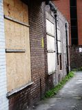 Stockport boarded up urban space weeds Royalty Free Stock Photos