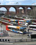 Stockport Bus Station. STOCKPORT, ENGLAND, MARCH 4: Bus Station and railway viaduct in Stockport on March 4th 2013. The bus terminus provides around 65 bus Royalty Free Stock Photos