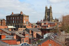 Stockport. In North West England (UK). Part of Greater Manchester. Townscape with church royalty free stock photography