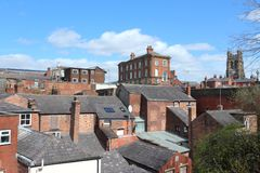 Stockport UK. Stockport in North West England (UK). Part of Greater Manchester. Townscape with church royalty free stock images