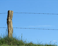 Stockproof Fence. A agricultural barbed wire fence and post against a background of green grass and blue sky Stock Photography