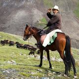 Stockrider con multitud en las montañas de Alay en pasto Imagen de archivo libre de regalías