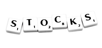 Stocks. Plastic game letters forming the word stocks stock photo